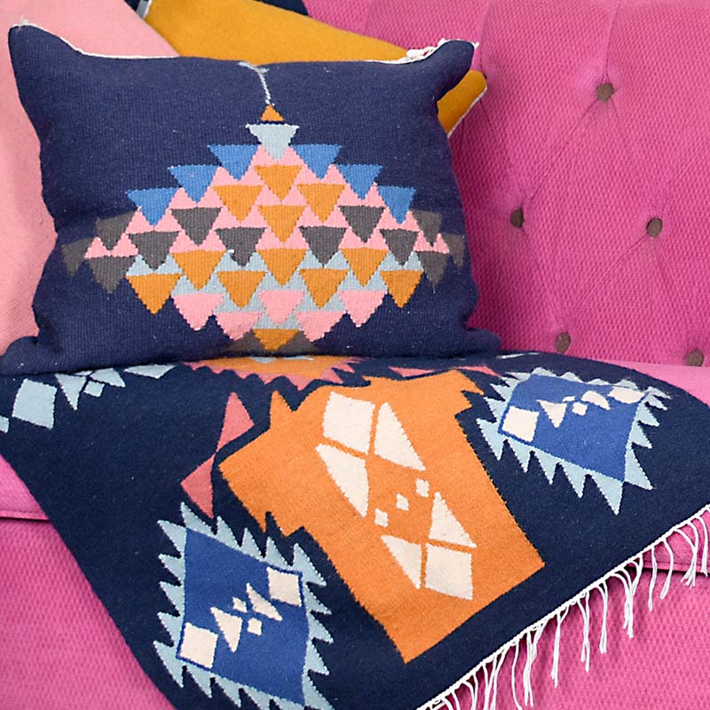 handmade kilim rug and cushion 100% natural wool